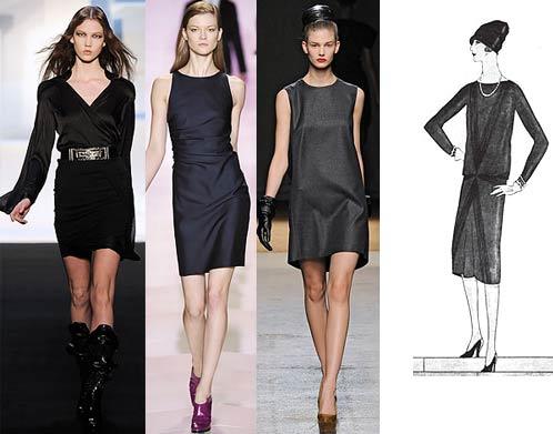 Модное маленькое черное платье. Осень, Зима: Sophia Kokosalaki, Tommy Hilfiger, Yves Saint Laurent. Оригинальный рисунок Габриэль Шанель