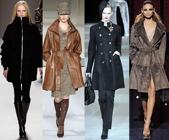 Мода, осень. Пальто 2009: Nicole Miller, Oscar de la Renta, Giorgio Armani, Versace