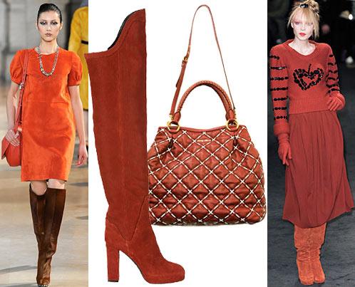Мода: платье Loewe, сапоги Sonia Rykiel, сумка Miu Miu, юбка и свитер Sonia Rykiel