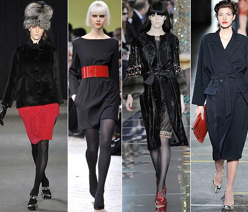 Мода. Осень, Зима. красная модная юбка Thakoon, красный пояс Limi Feu, красный макияж губ и обувь Valentino, красная сумка Dries Van Noten