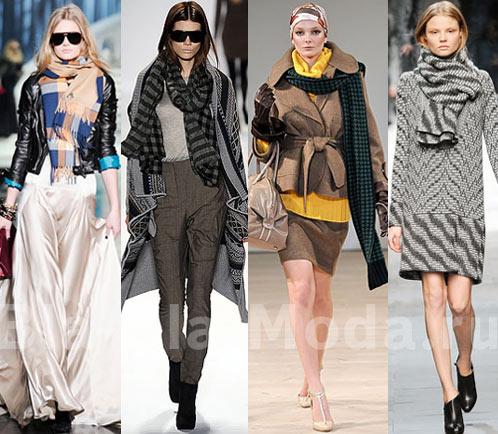 Шарфы в клетку и полоску. Мода Зима, Осень: Dsquared2, Yigal Azrouel, Aquascutum, Pringle of Scotland