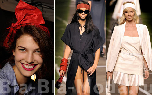 Бант Marc by Marc Jacobs, бордовая и белая повязки Hermes