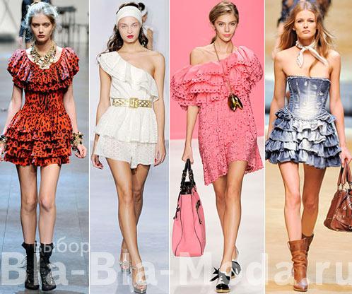 Модные платья. Рюши, воланы, оборки: Dolce & Gabbana, Luisa Beccaria, Moschino Cheap & Chic, D&G