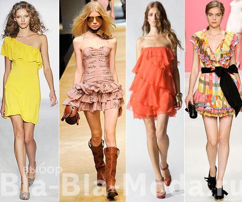 Модные платья. Воланы, рюши и оборки: Luca Luca, D&G, Halston, Moschino Cheap & Chic