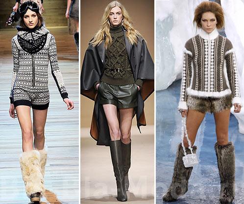 Мода, осень, зима. Шорты и свитер: D&G, Salvatore Ferragamo, Chanel