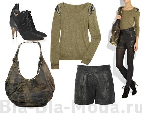 Мода, осень: обувь Cloe, ситер IRO, сумка Sara Berman, шорты Tibi