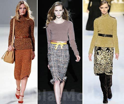 Мода, осень, зима. Свитер с юбкой: Chloe, Aquilano.Rimondi, MaxMara