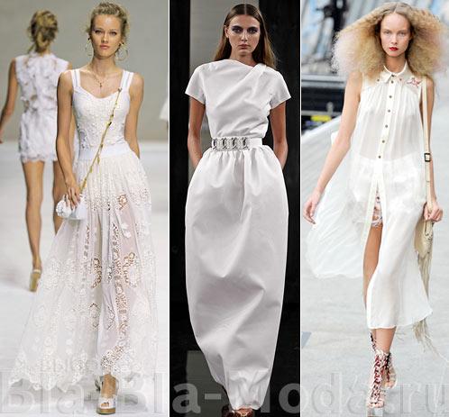 Длинные белые платья: Dolce & Gabbana, Victoria Beckham, Unique