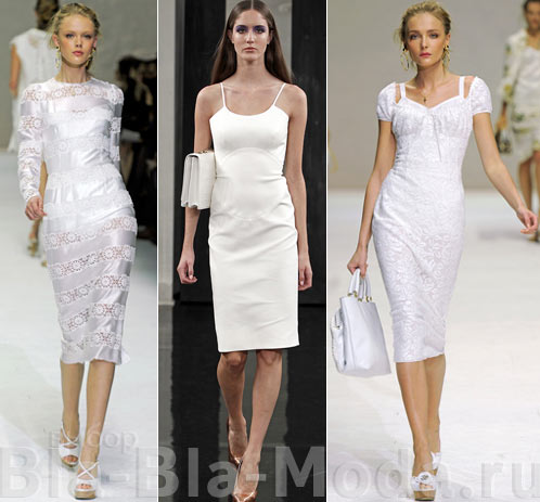 Модные белые платья: Dolce & Gabbana, Victoria Beckham, Dolce & Gabbana