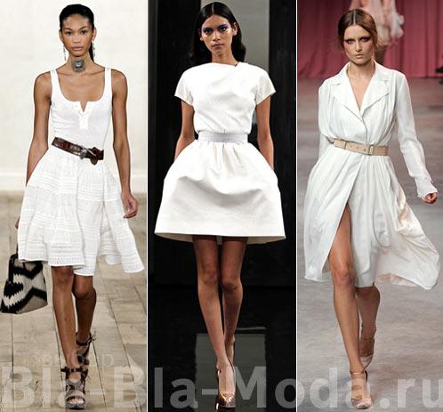 Модные белые платья с поясом: Ralph Lauren, Victoria Beckham, Nina Ricci