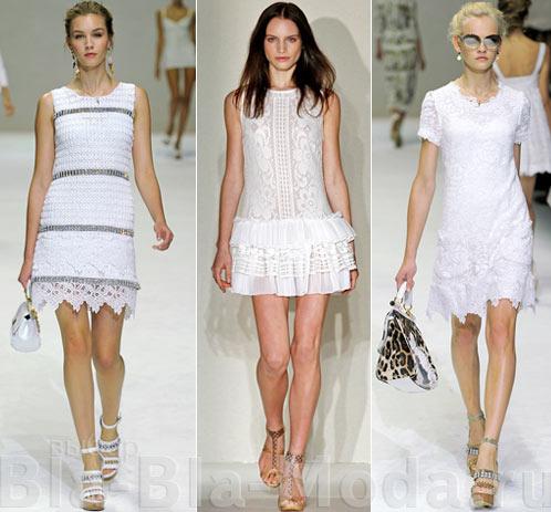Модные белые платья: Dolce & Gabbana, Collette Dinnigan, Dolce & Gabbana