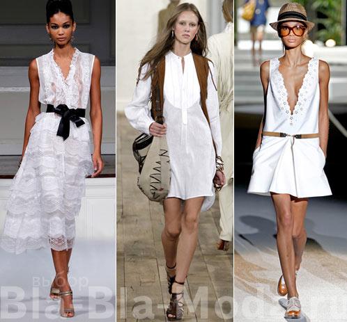 Модные белые платья Oscar de la Renta, Ralph Lauren, Dsquared2