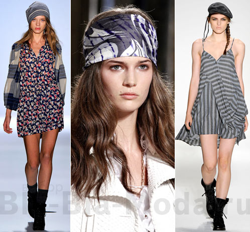 Модные головные уборы: (1) шапка Charlotte Ronson, (2) платок Emilio Pucci, (3) берет Nicholas K