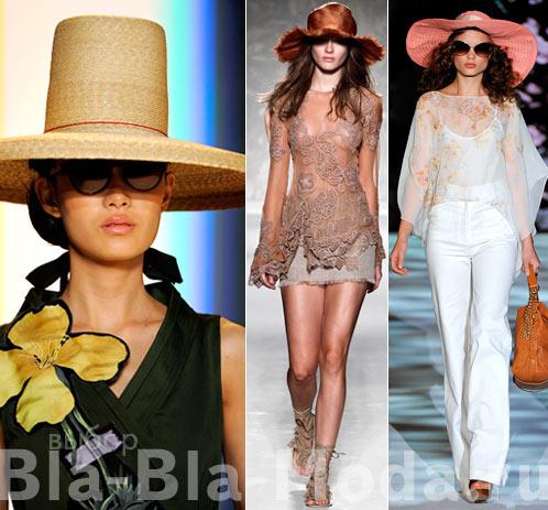 Широкополые шляпы из коллекций Carolina Herrera, Alberta Ferretti, Badgley Mischka