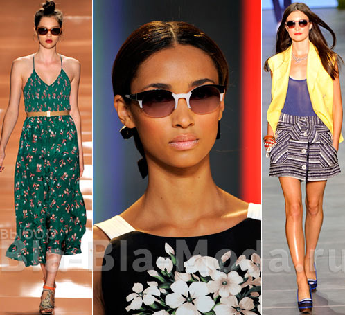 На фото модные солнцезащитные очки: Rebecca Taylor, Carolina Herrera, Tommy Hilfiger
