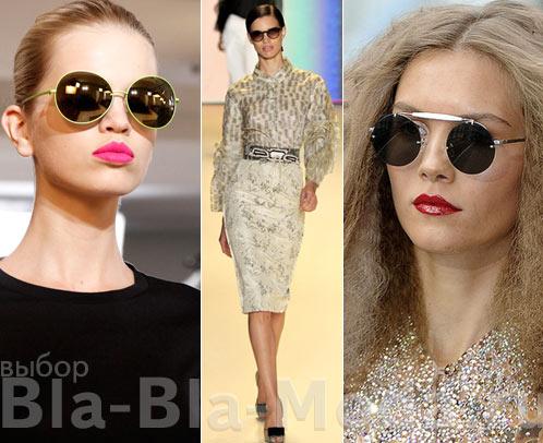 На фото модные солнцезащитные очки: Jil Sander, Carolina Herrera, Unique