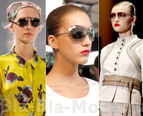 На фото модные солнцезащитные очки: Rochas, Jil Sander, Gucci
