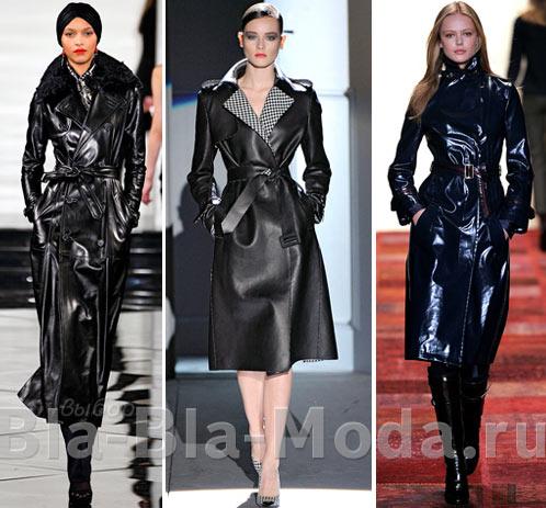 На фото модная кожаная одежда из коллекций: Ralph Lauren, Salvatore Ferragamo, Tommy Hilfiger
