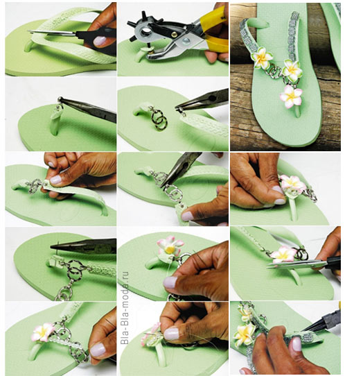 On the photo: How to make a beautiful summer flip-flops
