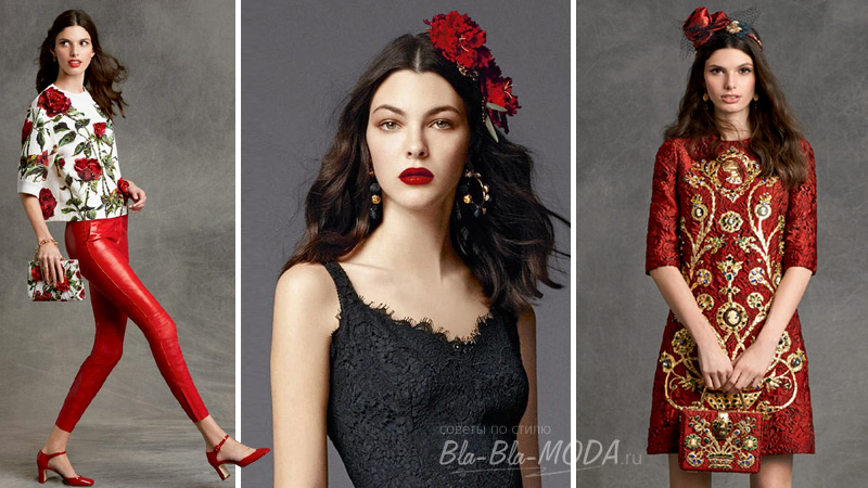 Trendy color - Red. Photo from the collection of Dolce & Gabbana