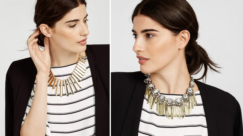 On the photo: How to choose a necklace to a striped dress