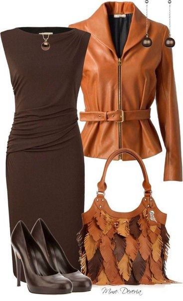 Dress with a leather jacket