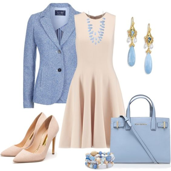 Beige dress and blue jacket