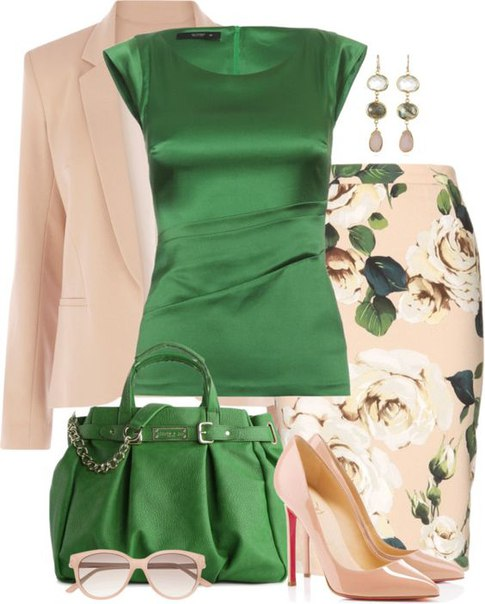 Юбка в цветочек и яркая блузка
