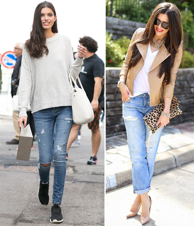 On the photo: What to wear jeans in the autumn
