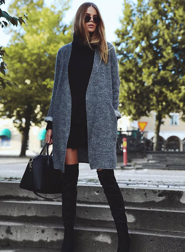 High boots with a coat