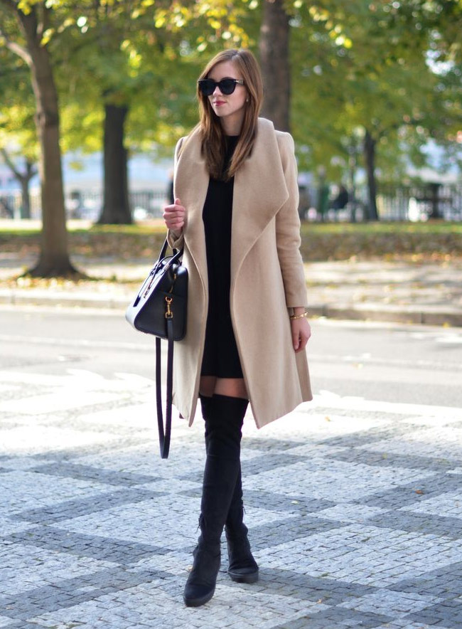 Boots with a coat