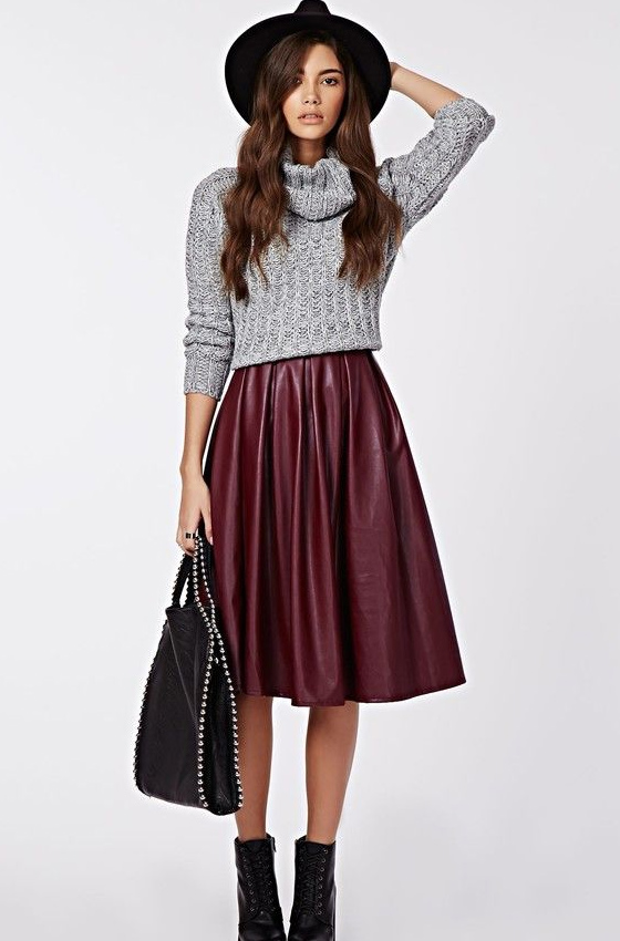 Wide leather skirt and sweater