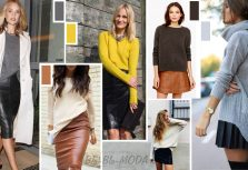 Leather skirt and sweater