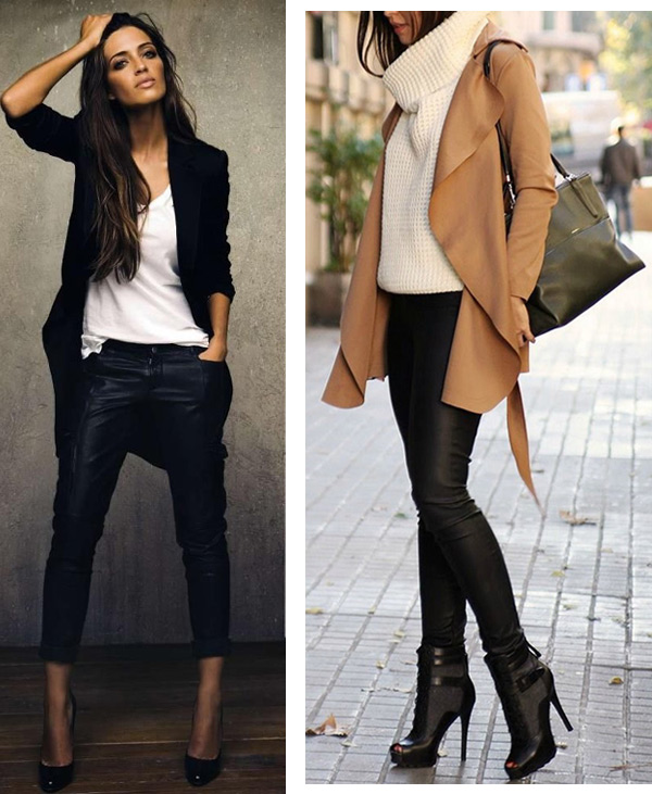 On the photo: What to wear leather pants