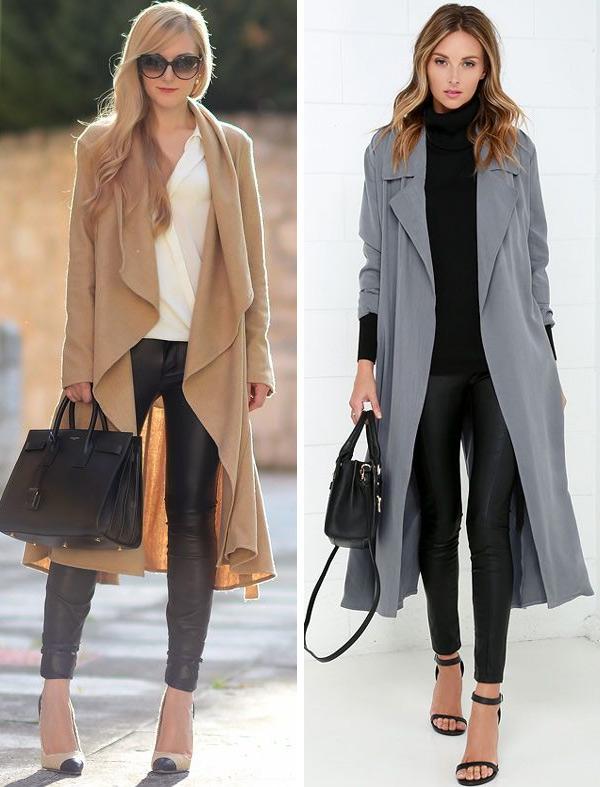 На фото кожаные брюки с пальто