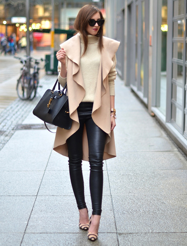 Leather pants with sweater and shoes