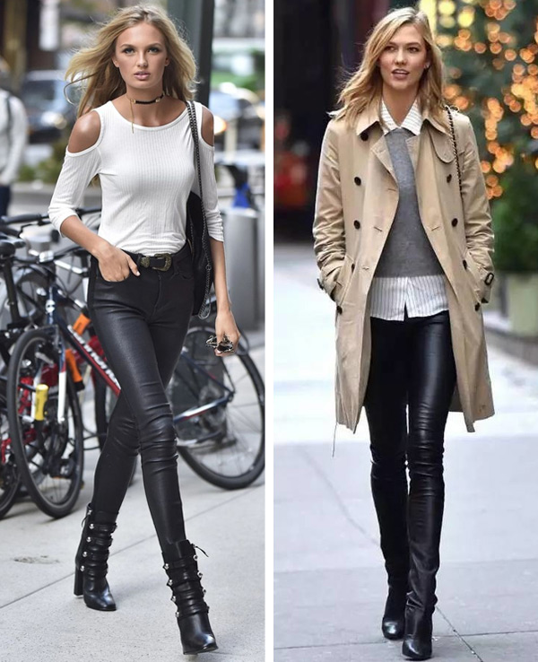 Black leather pants with black shoes to create the effect of long legs