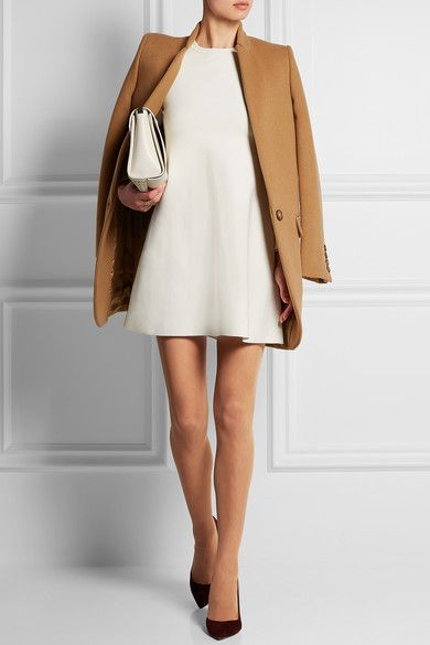 White dress and cashmere coat