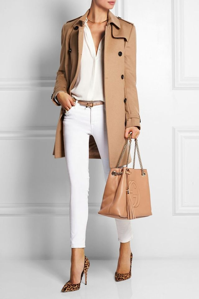 The short coat with white jeans