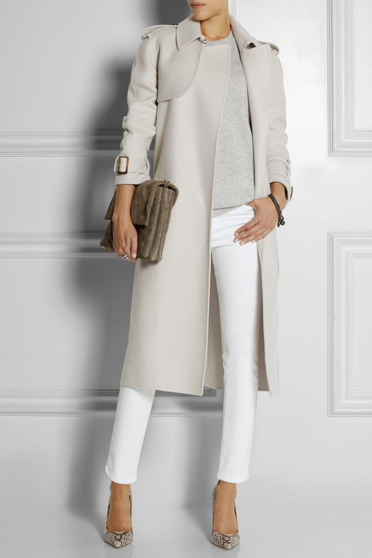 Stylish idea: gray coat and white jeans