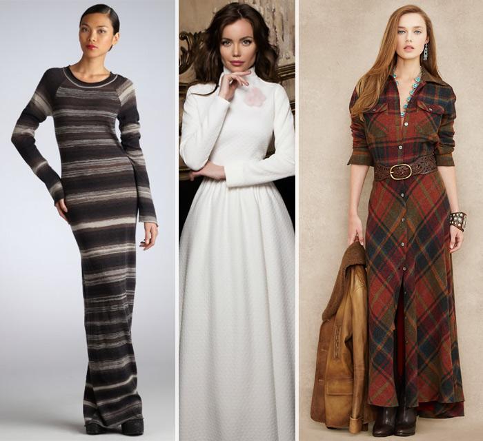 Длинные зимние платья