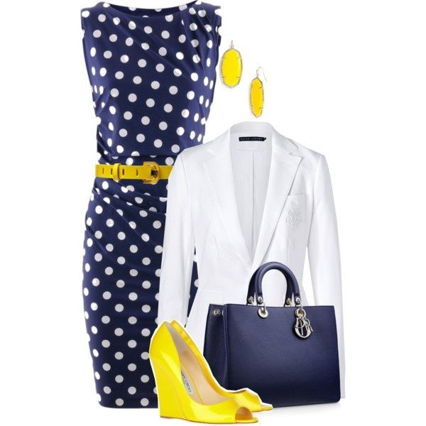 Summer blue polka-dot dress