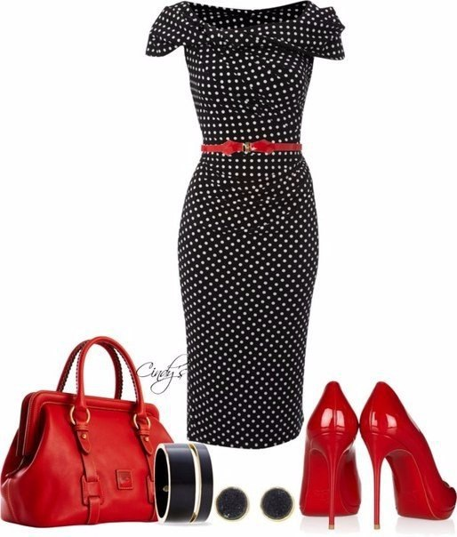 Black polka-dot dress