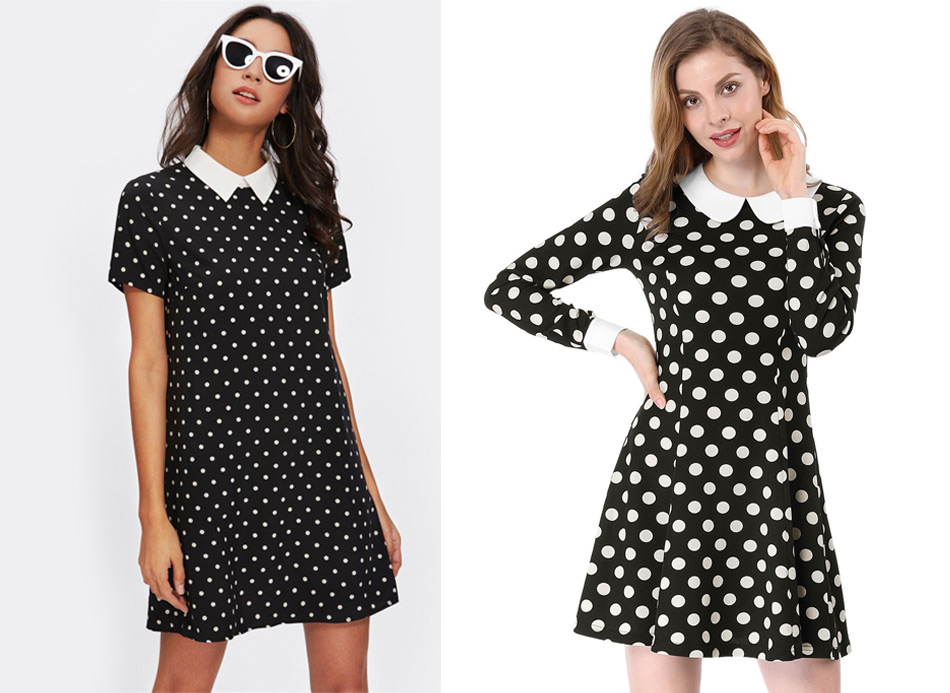 Black dress with polka dots, with a collar
