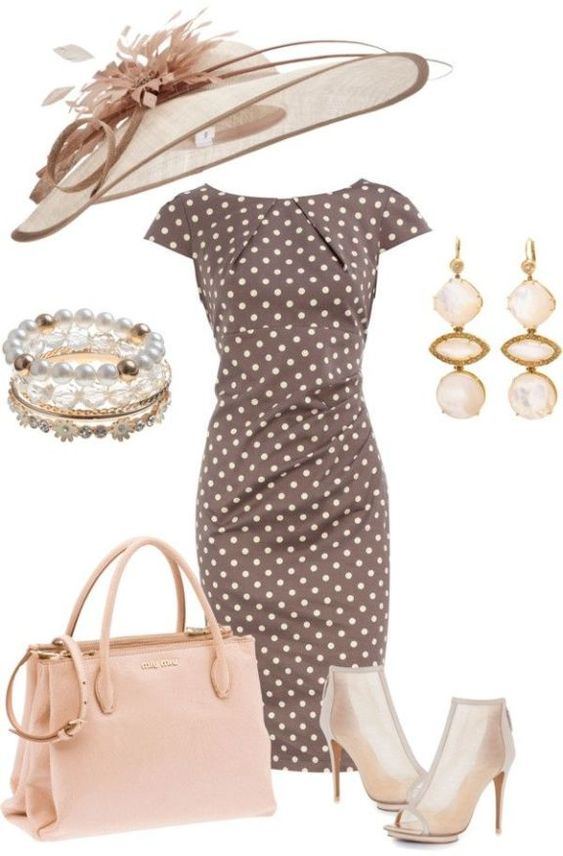 Brown polka-dot dress